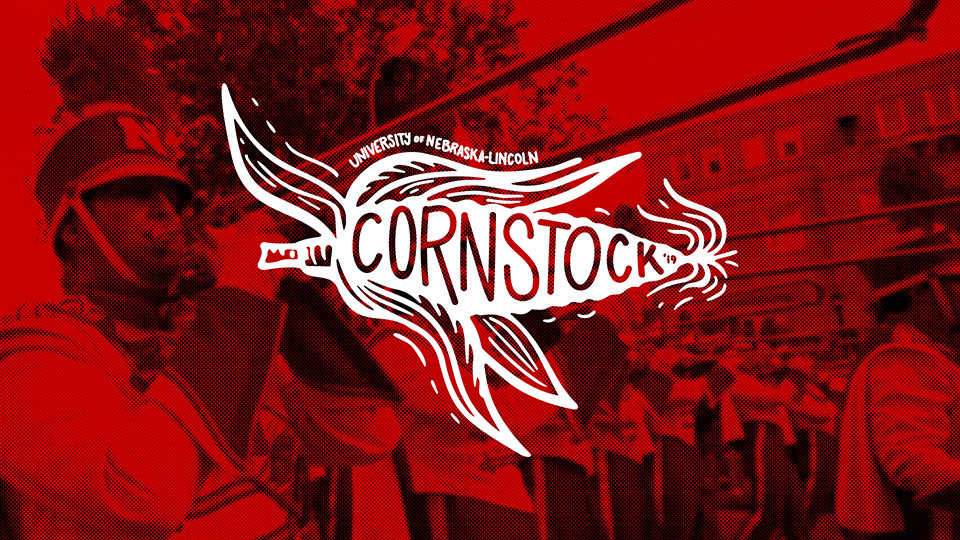 Cornstock graphic over faded image