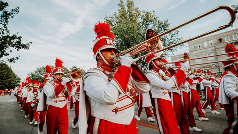 Marching Band performs on parade route
